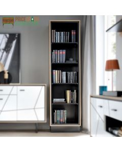 Brolo Tall Bookcase With The Walnut And Dark Panel Finish