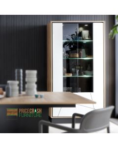 Brolo Tall Wide Glazed Display Cabinet With The Walnut And Dark Panel Finish