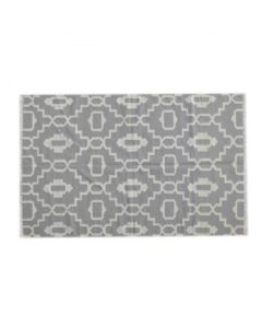 White And Light Grey Abstract Pattern Rug