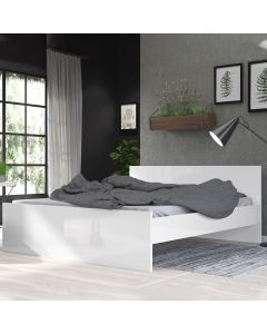 Naia Euro King Bed (160 x 200) In White High Gloss