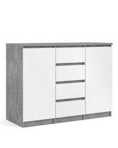Naia Sideboard 4 Drawers 2 Doors In Concrete And White High Gloss