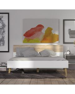 Oslo Euro King Bed (160 x 200) In White And Oak