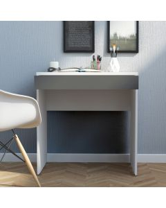 Function Plus Compact Desk with Drawer in White and Grey at Price Crash Furniture. Small rooms Desk.