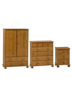 3 Pc Pine Bedroom Furniture Set - 2 Door Combi Wardrobe, 6 Drawer Chest, 3 Drawer Bedside