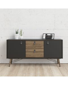 Ry Large Sideboard with 2 Doors + 2 Drawers in Matt Black & Walnut at Price Crash Furniture. Matching items available. Also in white
