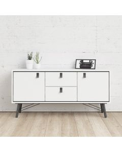 Ry Large Sideboard with 2 Doors + 2 Drawers in Matt White at Price Crash Furniture. Matching items available. Also in Walnut & Black