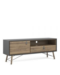 Ry TV-Unit 1 Door + 1 Drawer In Matt Black Walnut