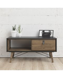 Ry Coffee Table with 1 Drawer in Matt Black & Walnut at Price Crash Furniture. Matching items available. Also in Matt White