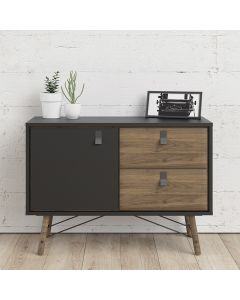 Ry Small Sideboard with 1 Door + 2 Drawers in Matt Black & Walnut at Price Crash Furniture. Matching items available. Also in white