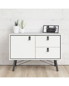 Ry Small Sideboard with 1 Door + 2 Drawers in Matt White at Price Crash Furniture. Matching items available. Also in walnut & black