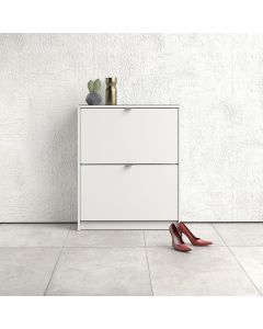 Shoe Cabinet: 2 compartments with 2 layers in White at Price Crash Furniture. Other sizes & colours also available