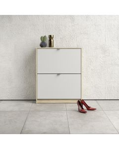 Shoe Cabinet: 2 compartments with 2 layers in Oak & White at Price Crash Furniture. Other colours & sizes also available