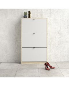 Shoe Cabinet: 3 compartments with 2 layers in Oak & White at Price Crash Furniture. Other sizes & colours also available