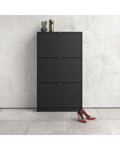 Shoe Cabinet: 3 compartments with 2 layers in Matte Black at Price Crash Furniture. Other sizes & colours also available.