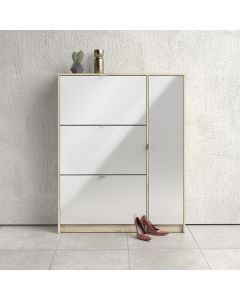 Shoe Cabinet: 3 compartments with 2 layers & 1 door in Oak & Gloss White at Price Crash Furniture. Other sizes & styles also available