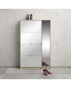 Shoes Shoe Cabinet with 4 Tilting Doors & 2 Layers + 1 Mirror Door with shelves, in Oak, White High Gloss & Mirror at Price Crash Furniture