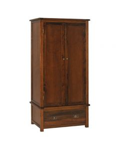 Boston 2 Door 1 Drawer Wardrobe In Dark Stained Wood