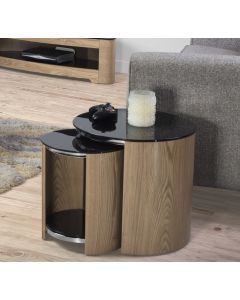 Jual Furnishings Nest Of Tables In Oak With Black Glass Tops