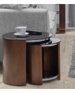 Jual Furnishings Nest Of Tables In Walnut With Black Glass Tops - JF305