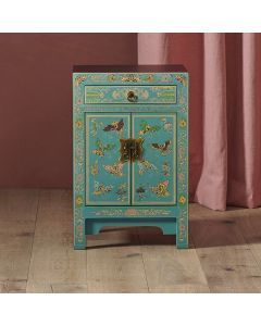 40284 - Baumhaus The Nine Schools Oriental Decorated Blue Small Cabinet