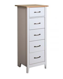 Steens Norfolk Solid Painted Grey & Oak 5 Drawer Tall Narrow Chest Of Drawers