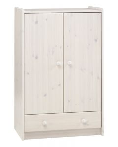 Steens For Kids 2 Door 1 Drawer Low Wardrobe In Whitewash