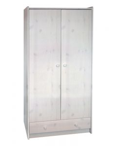 Steens For Kids 2 Doors + 1 Drawer Tall Wardrobe In Whitewash