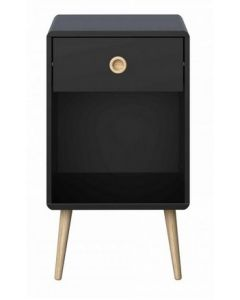Steens Softline Black 1 Drawer Bedside Table