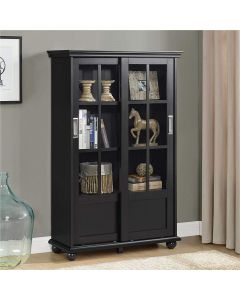 Aaron Lane 1.3m tall display cabinet bookcase in black by Dorel at Price Crash Furniture