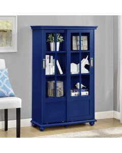 Aaron Lane Cabinet Bookcase with Sliding Glass Doors in Blue by Dorel