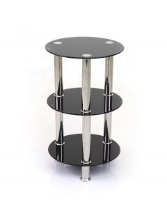 Abbey 3 Tier Shelving Unit in Black Glass & Chrome