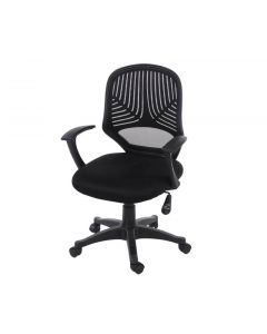 Core Products Loft Home Office Chair In Black Mesh Back, Black Fabric Seat With Black Base