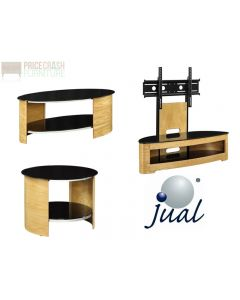 Jual Furnishings JF209 Cantilever TV Stand, Coffee Table & Side Table in Oak