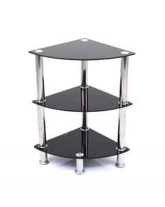 Ammy 3 Tier Shelving Unit in Black Glass & Chrome