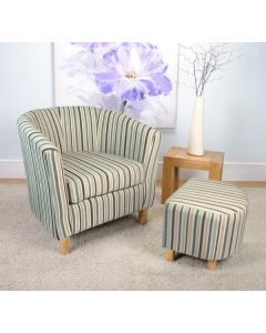 Stripe Fabric Duck Egg Blue Tub Chair Set