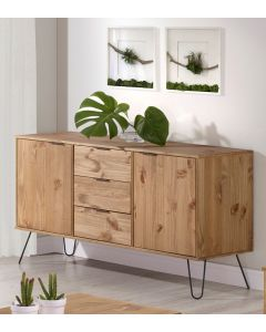 Core Products Augusta Medium Sideboard with 2 Doors & 3 Drawers in Pine at Price Crash Furniture. Also in Grey, Driftwood or White. Matching items available