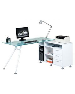 Alphason Augusta Premium White & Glass Corner Desk Workstation at Price Crash Furniture - space for a computer tower and printer
