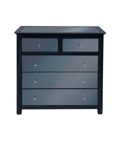 Core Products Ayr Dark Grey & Smoked Glass 2+3 Drawer Chest