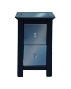 Core Products Ayr Dark Grey & Smoked Glass 2 Drawer Petite Bedside Cabinet
