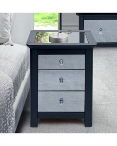 Core Products Ayr Dark Grey & Smoked Glass 3 Drawer Bedside Cabinet