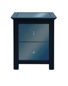 Core Products Ayr Dark Grey & Smoked Glass 2 Drawer Bedside Cabinet