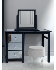 Core Products Ayr Dark Grey & Smoked Glass Single Pedestal Dressing Table