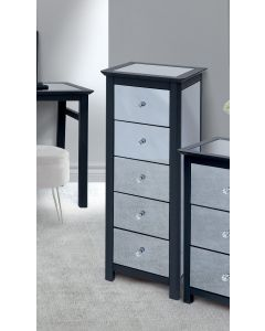 Core Products Ayr Dark Grey & Smoked Glass 5 Drawer Narrow Chest