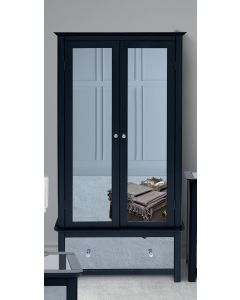 Core Products Ayr Dark Grey & Smoked Glass 2 Door 1 Drawer Wardrobe
