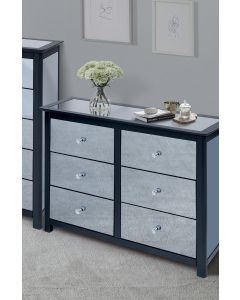 Core Products Ayr Dark Grey & Smoked Glass 3+3 Drawer Wide Chest