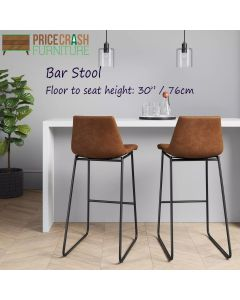 Bowden faux leather upholstered Bar Stool in caramel maple at Price Crash Furniture