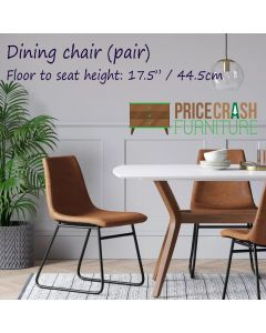 Bowden dining chair in caramel maple faux leather at Price Crash Furniture