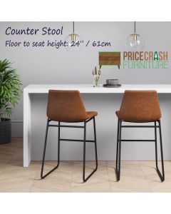 Bowden Single Counter Stool in Caramel Maple Faux Leather by Dorel