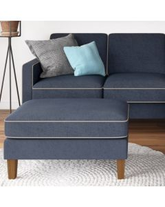 Bowen Ottoman Footstool with Contrast Welting in Blue Chenile by Dorel at Price Crash Furniture. Matching items. Also in blue