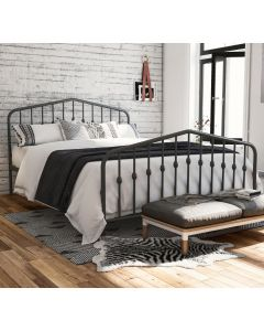 Bushwick Double Bed in Grey Metal by Dorel at Price Crash Furniture. Also in Black or White. Also in King size